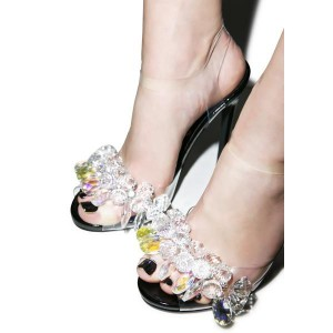 Women's White Lace Rhinestone Clear Stiletto Heel Wedding Shoes