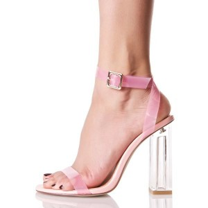 Women's Pink Chunky Clear Heel Open Toe Ankle Strap Sandals