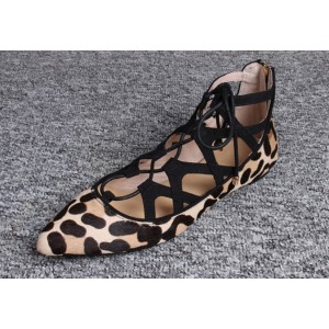 Women's Brown Pointy Toe Hollow Out Strappy Leopard Printed Flats