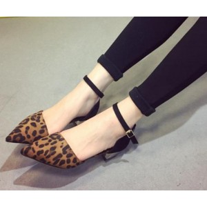 Women's Pointed Toe Ankle Strap Leopard Print Heels Vintage Pumps