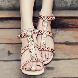 Women's Rhinestone Embellished Leopard Print Shoes T-strap Flat Sandals