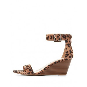 Women's Open Toe Ankle Strap Wedge Heel Leopard Print Sandals