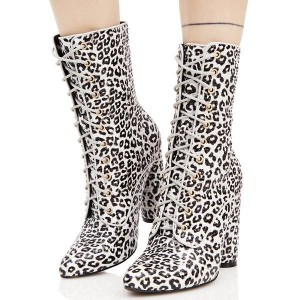 Women's Brown Strappy Almond Toe Leopard Print Boots