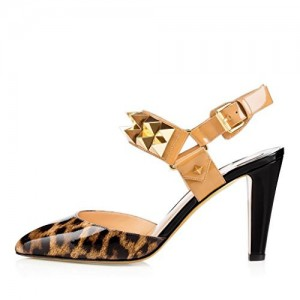 Leopard Print Heels Slingback Closed Toe Sandals with Rivets