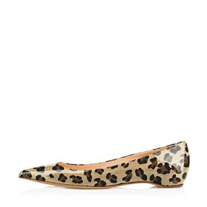 Women's Patent Khaki Pointy Toe Low Cut Upper Leopard Print Flats