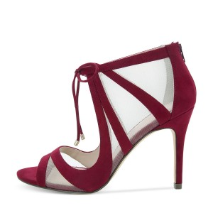 Burgundy Lace up Sandals Mesh Peep Toe Suede Stiletto Heels