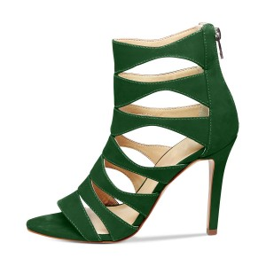 Green Stiletto Heels Suede Hollow out Open Toe Sandals