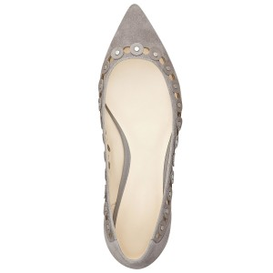 Grey School Shoes Pointy Toe Flats with Silver Studs