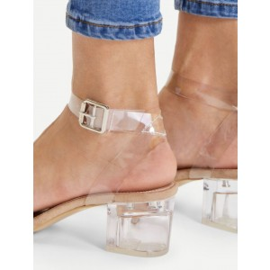 Custom Made Clear Block Heel Sandals