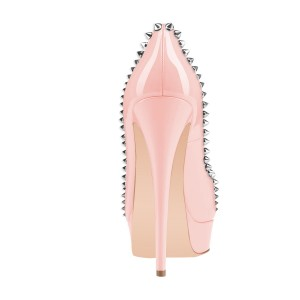 Pink Platform Heels Peep Toe Stiletto Heels Studded Pumps