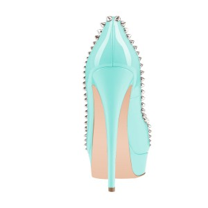 Cyan Rivets Peep Toe Platform Pumps Stiletto Heels Studs Shoes