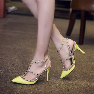 Yellow Studs Shoes Patent Leather Stiletto Heels T Strap Pumps