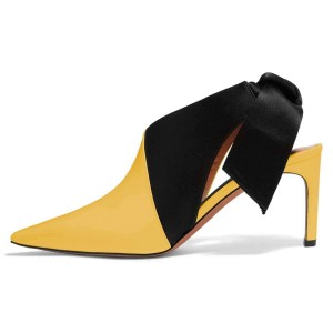 Yellow and Black Chunky Heels Pointy Toe Bow Slingback Pumps