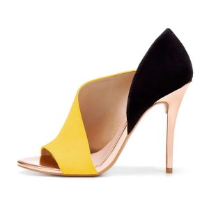 Yellow and Black Open Toe Cut Out Stiletto Heels Pumps