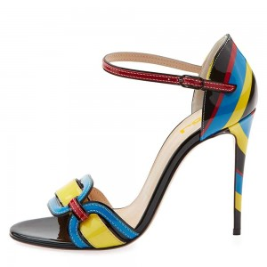 Yellow and Blue Open Toe Stiletto Heel Ankle Strap Sandals