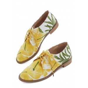 Yellow and Green Floral Women's Oxfords Lace Up Shoes