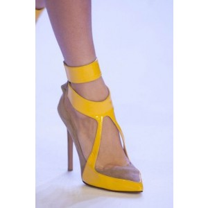 Yellow and Khaki Pointy Toe Stiletto Heels Office Shoes for Women