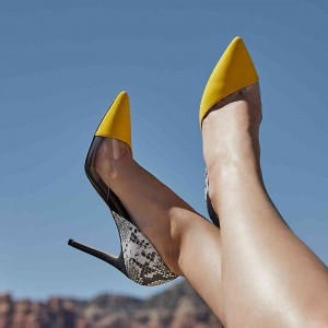 Yellow and Python Clear PVC Stiletto Heels Pumps