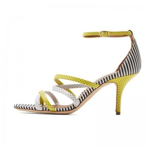 Yellow and White Polka Dot Stiletto Heel Ankle Strap Sandals