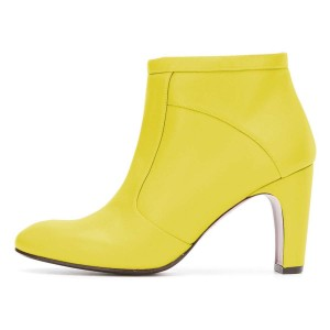 Yellow Ankle Boot chunky Heel Boots