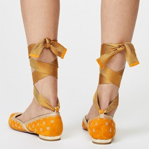 Yellow Flowers Chic Pointy Toe Flats Strappy Comfortable Flats