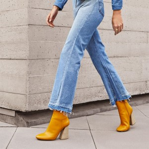 Yellow Block Heel Ankle Booties