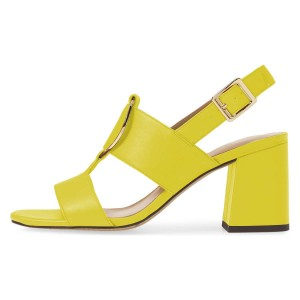 Yellow Block Heels Slingback Sandals