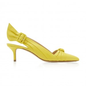 Yellow Buckle Kitten Heel Slingback Pumps with Bow