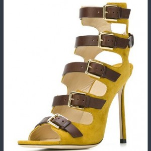 Yellow Buckle Stiletto Heels Open Toe Sandals