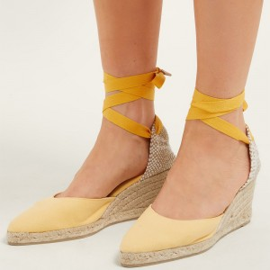 Yellow Canvas Platform Wedge Heels Strappy Pumps