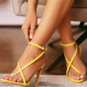 Yellow Clear PVC Cross Over Ankle Strap Heels Sandals