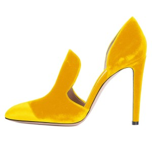 Yellow Double D'orsay Pointy Toe Stiletto Heels Pumps