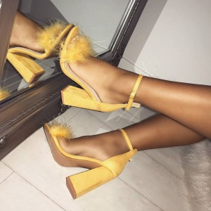 Yellow Fur Heels Ankle Strap Sandals Suede Block Heel Sandals