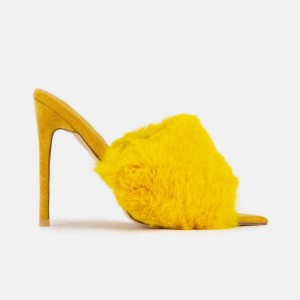 Yellow Fur Heels Peep Toe Stiletto Heel Trending Mules US Size 3-15