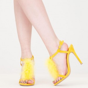 Yellow Suede Trendy Fur Heels T-strap Open Toe Stiletto Heel Sandals