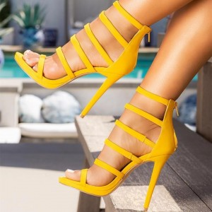 Yellow Gladiator Heels Multi Straps Stiletto Heel Sandals