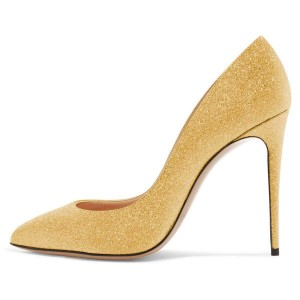 Yellow Glitter Shoes Stiletto Heel Pumps