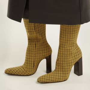 Yellow Houndstooth Chunky Heel Boots Knee-high Boots