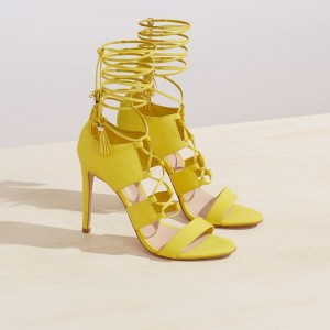 Yellow Lace up Sandals Tassels Open Toe Stiletto Heels Strappy Sandals