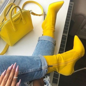 Yellow Lycra Tight Fashion Boots Stiletto Heel Ankle Boots