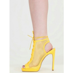 Yellow Mesh Hollow out Slingback Lace up Summer Boots Platform Sandals