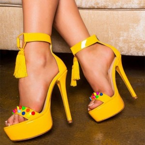 Yellow Tassel Sandals Colors Rivets Ankle Strap Platform High Heels