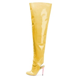 Yellow Patent Leather Slingback Stiletto Boots Over-the-knee Boots
