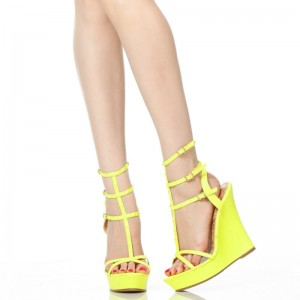 Yellow Peep Toe T Strap Wedge Sandals Slingback Shoes For Students