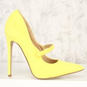 Yellow Pointy Toe Mary Jane Pumps Stiletto High Heels