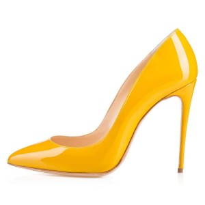 Yellow Pointy Toe Office Heels Patent Leather Stiletto Heel Pumps