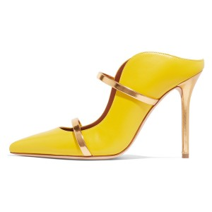 Yellow Pointy Toe Stiletto Gold Straps Heel Mules Pumps