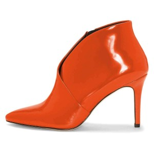 Orange Pointy Toe Stiletto Heel Ankle Booties