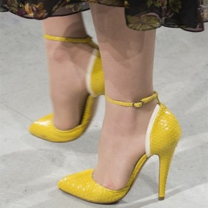 Yellow Python Pointy Toe Ankle Strap Heels Stiletto Heel Pumps