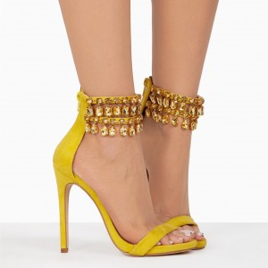 Yellow Rhinestone Open Toe Stiletto Heels Ankle Strap Sandals